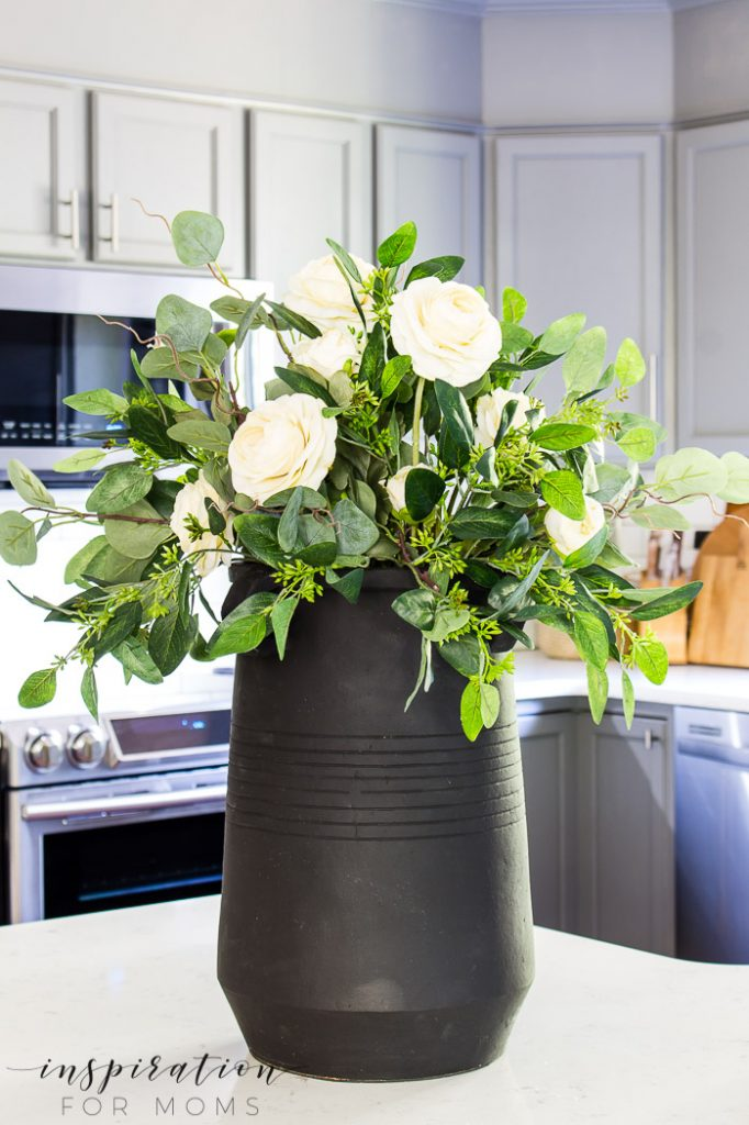 eucalyptus fall centerpiece in black vase