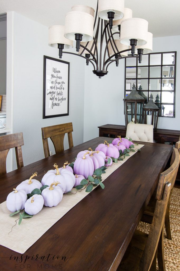 dining room table featuring ombre painted pumpkins, fall home tour, dining room