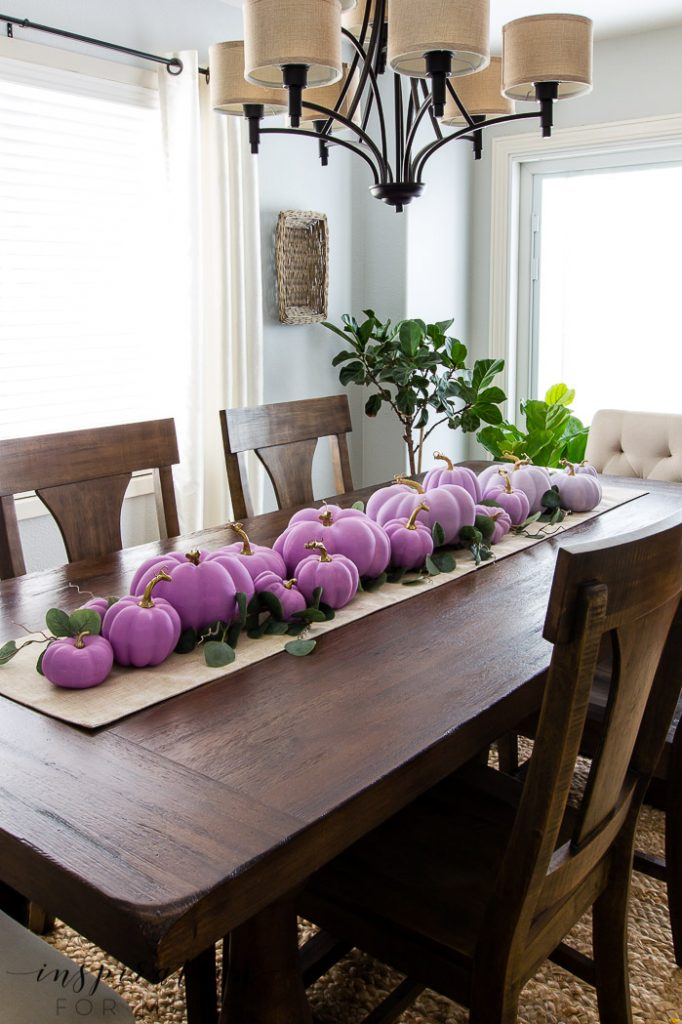 ombre painted pumpkins, dining room, fall home tour