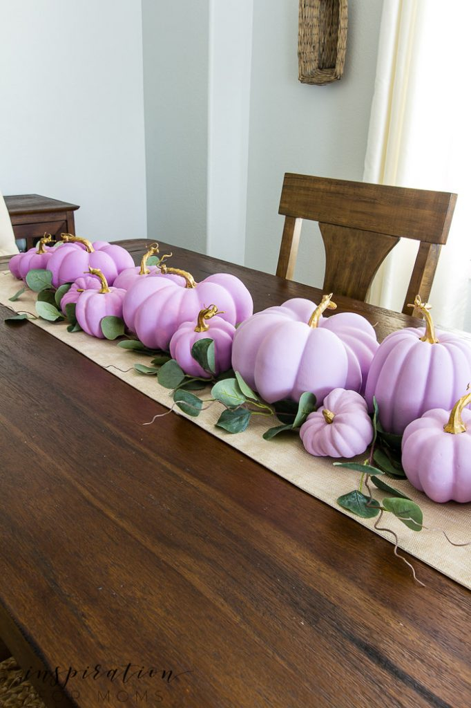 fall home tour with ombre painted pumpkins, plum home tour, painted pumpkin centerpiece