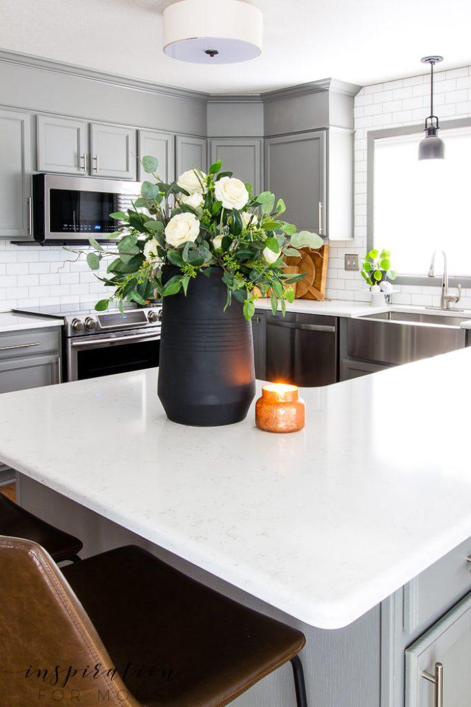 fall home tour kitchen, gray cabinets, eucalyptus centerpiece, white subway tile