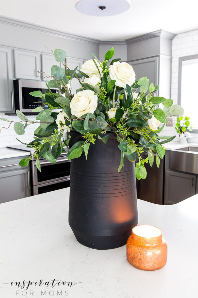fall plum home tour with eucalyptus centerpiece, kitchen with gray cabinets