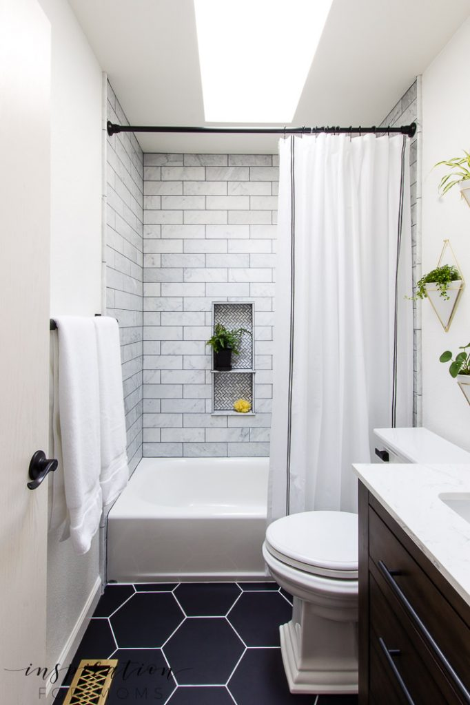 Easily find all the sources of my new modern small bathroom makeover. Shop the complete room by clicking on links through the post!