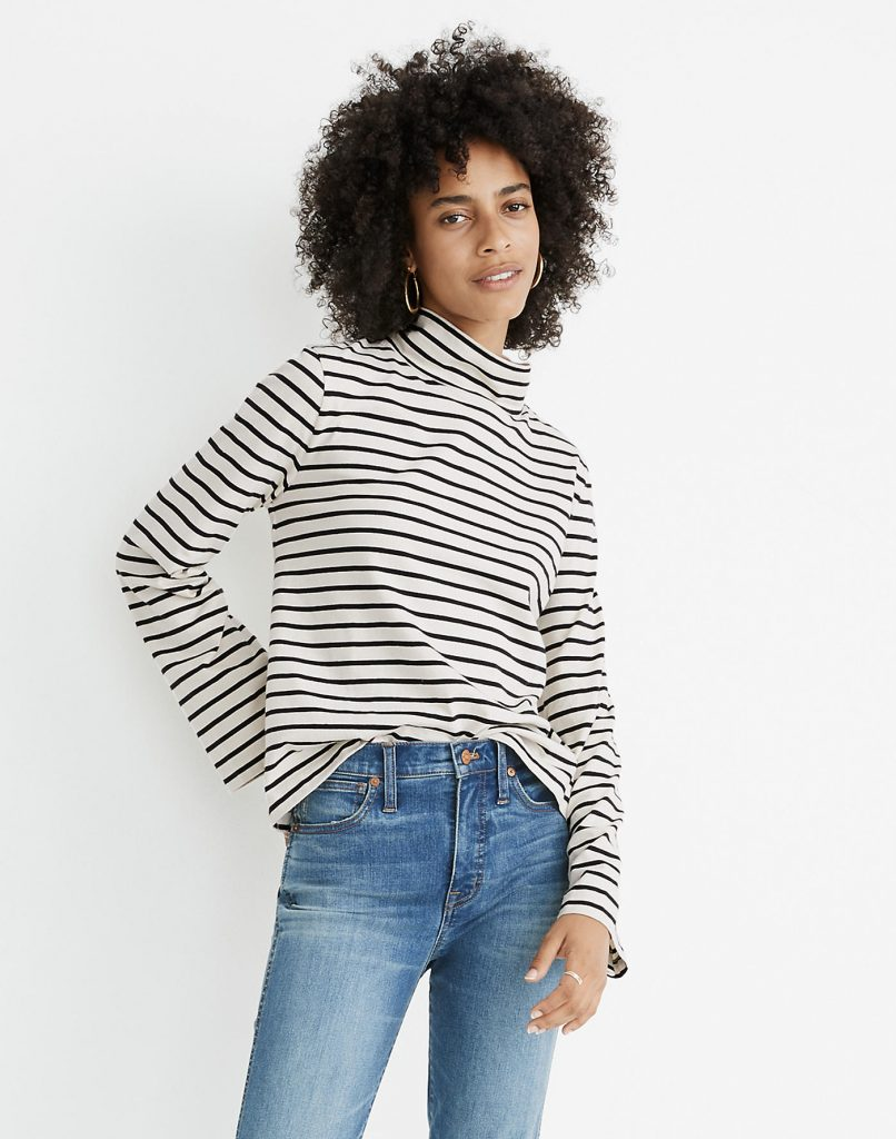 wide sleeve striped turtle neck - great for fall