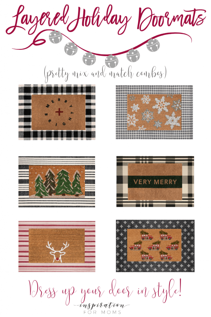 Get your front door festive with a new set of layered holiday doormats. See a collection of mix and match combos to get inspired! #layeredholidaydoormats