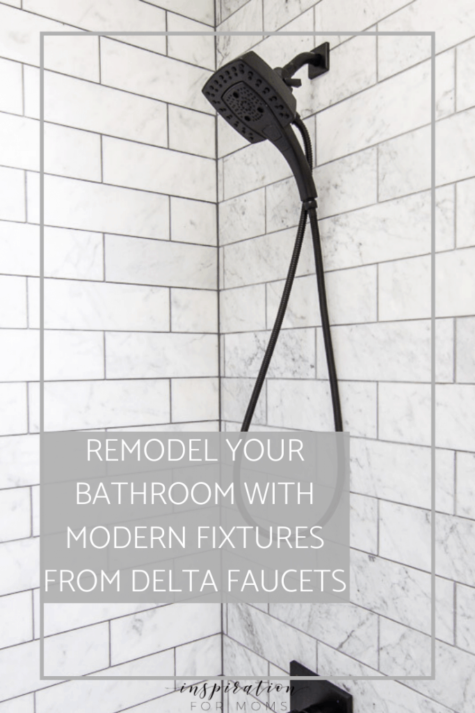 An outdated bathroom gets a new look with modern fixtures from the Delta faucet brands. You won't believe the transformation! #bathroomremodel #bathroomfixtures
