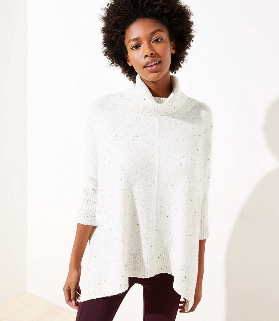 flecked turtleneck poncho sweater -- great for pairing with leggings