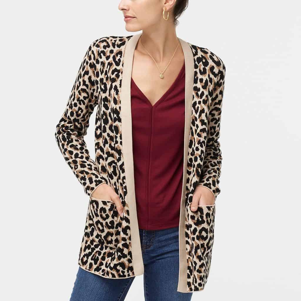 leopard open cardigan