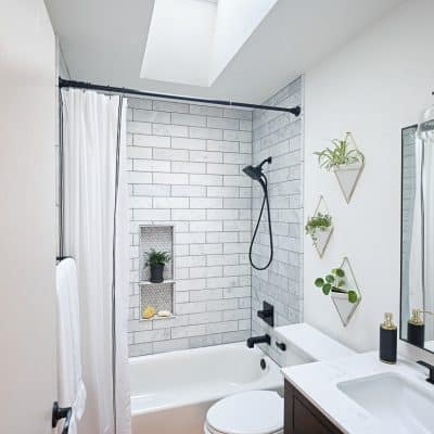 The sun is shining in and it looks so good! Come see how our new VELUX skylights have dramatically changed our small bathroom.