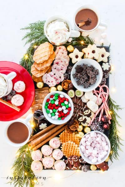 Take the stress out of holiday entertaining with a fun Cookie and Chocolate Dessert Charcuterie board! #charcuterieboard #cookiedessertboard #holidayeats