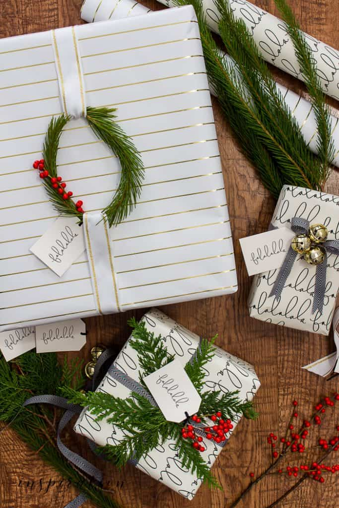 You bought the gifts and now it's time to wrap them. Here are three easy Christmas gift wrap ideas you can do fast! #christmasgiftwrapideas #giftwrapideas