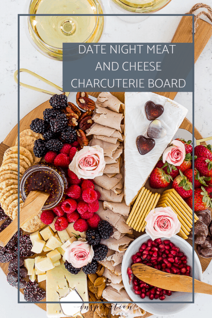 Create a simple Valentine's meal for your sweetie! This delicious date night meat and cheese charcuterie board has all the right ingredients for a special night! #charcuterie #valentinesday #datenight