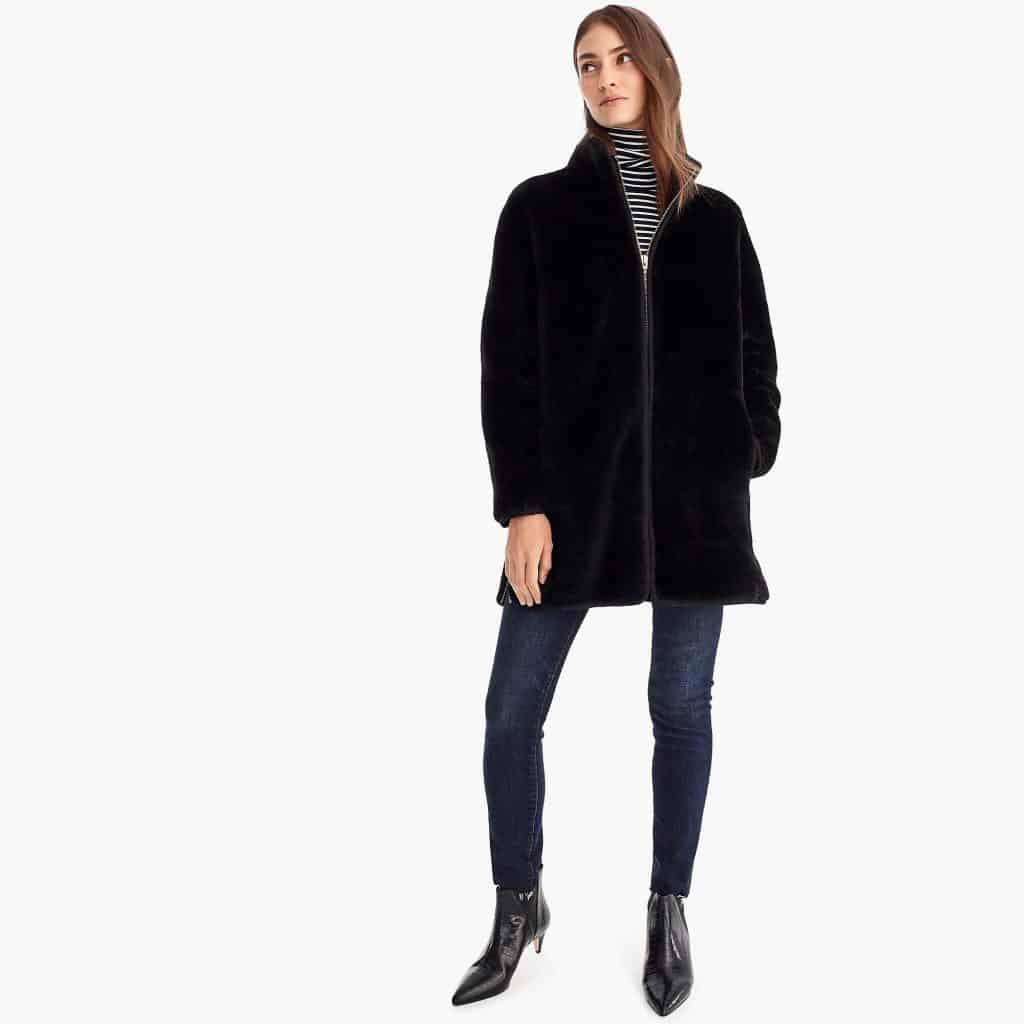 zip-up plush fleece coat