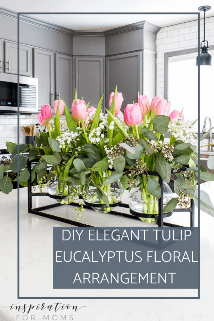 Easily create an elegant tulip eucalyptus floral arrangement with my three step process. Once you learn the key method, it's so easy! #floralarrangements