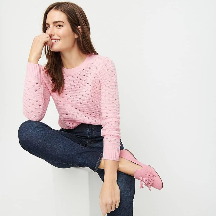 Pointelle crewneck sweater - so pretty!