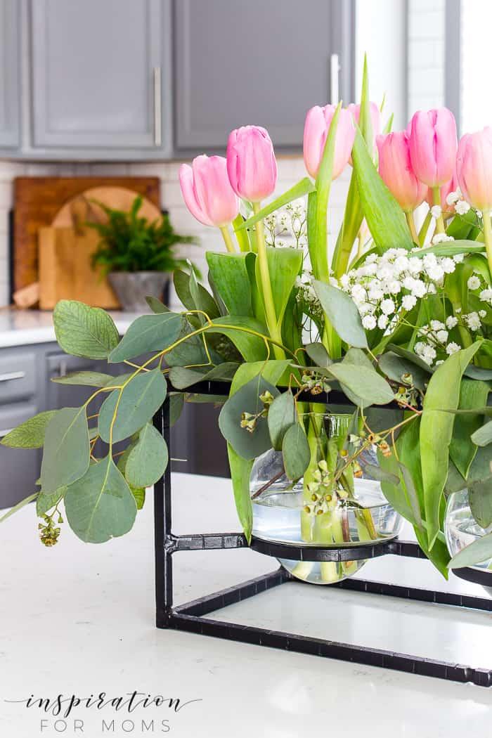 Elegant Tulip Eucalyptus Floral Arrangement
