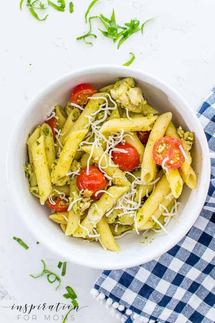 Spring Chicken Pesto Pasta with Mozzarella