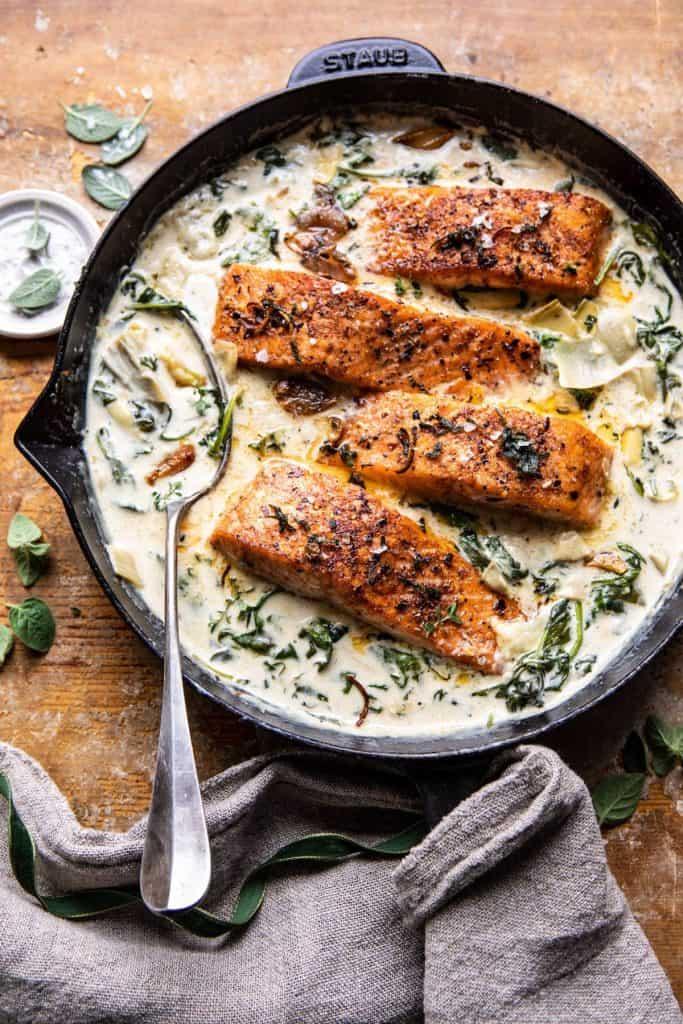 Creamy Spinach and Artichoke Salmon
