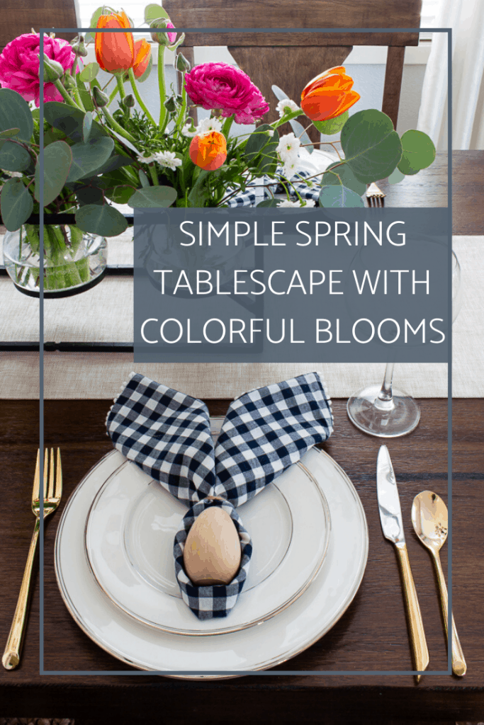 Bring spring to your table with this simple spring tablescape decor. A colorful combination of blooms and some fun bunny napkins is really all you need!