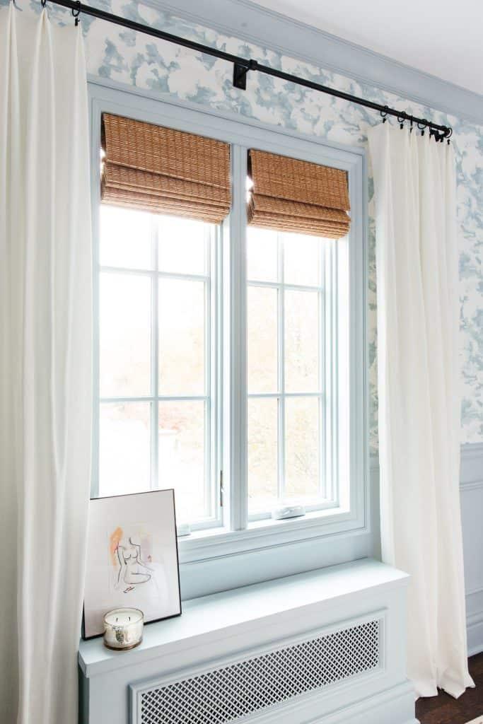 Erin Kestenbaum woven wood shades in bedroom