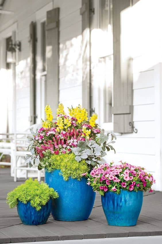 Get inspired to create a fabulous sun and shade container garden with these gorgeous inspirational gardens. #containergarden #plantergardens #flowergardens