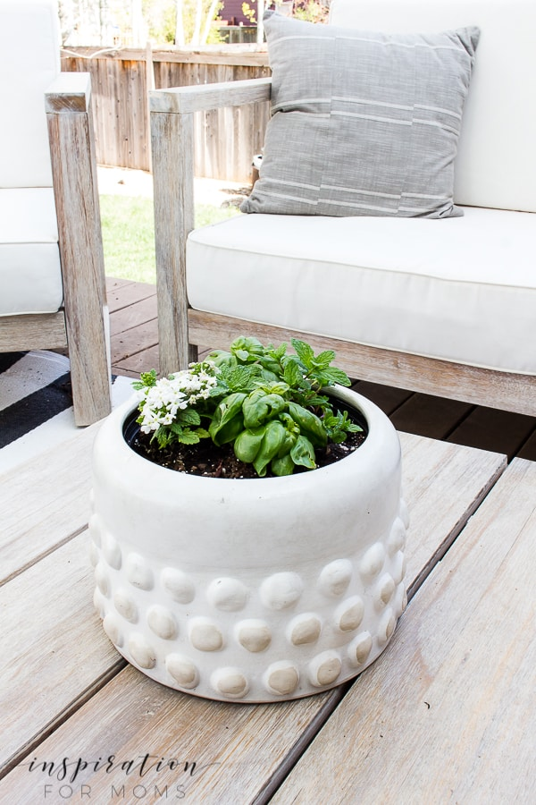 Why let the yard garden have all the fun? Create a pretty container tabletop herb garden that's perfect for any place outdoors! #herbgarden #outdoorgarden