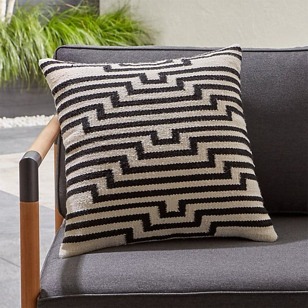 black and white outdoor pillow