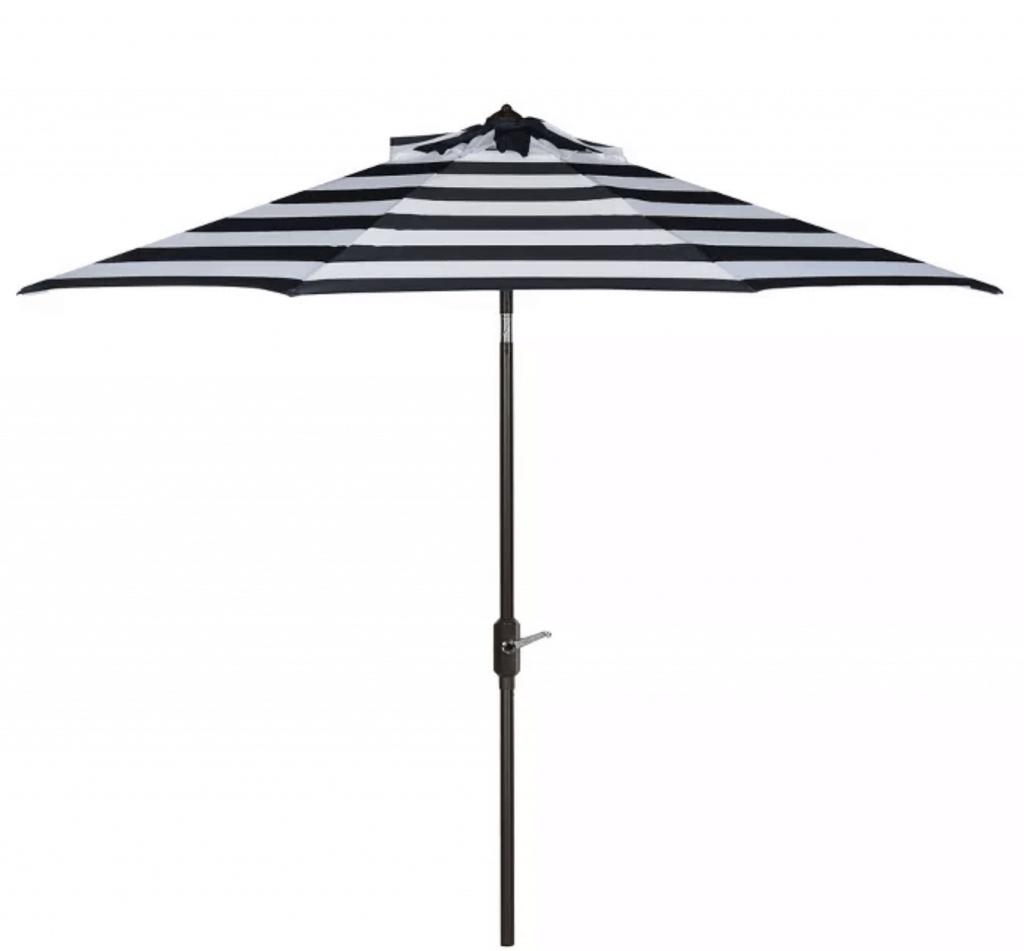 black and white striped umbrella