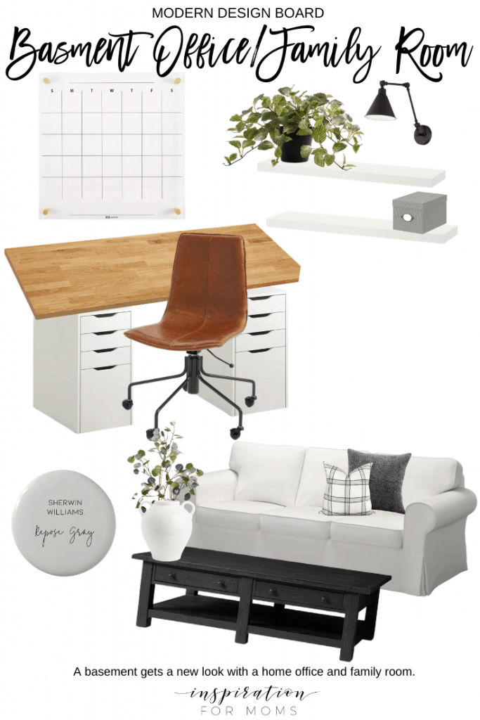It's time to make some changes to our basement. See lots of inspiration behind my new basement office/family room design! #moodboard #officedesignboard