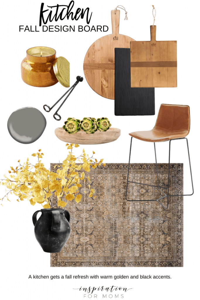 Get inspired to get your home decorated for fall with my fall home decorating design boards! #falldesignboard #fallmoodboard #fallhomedecor