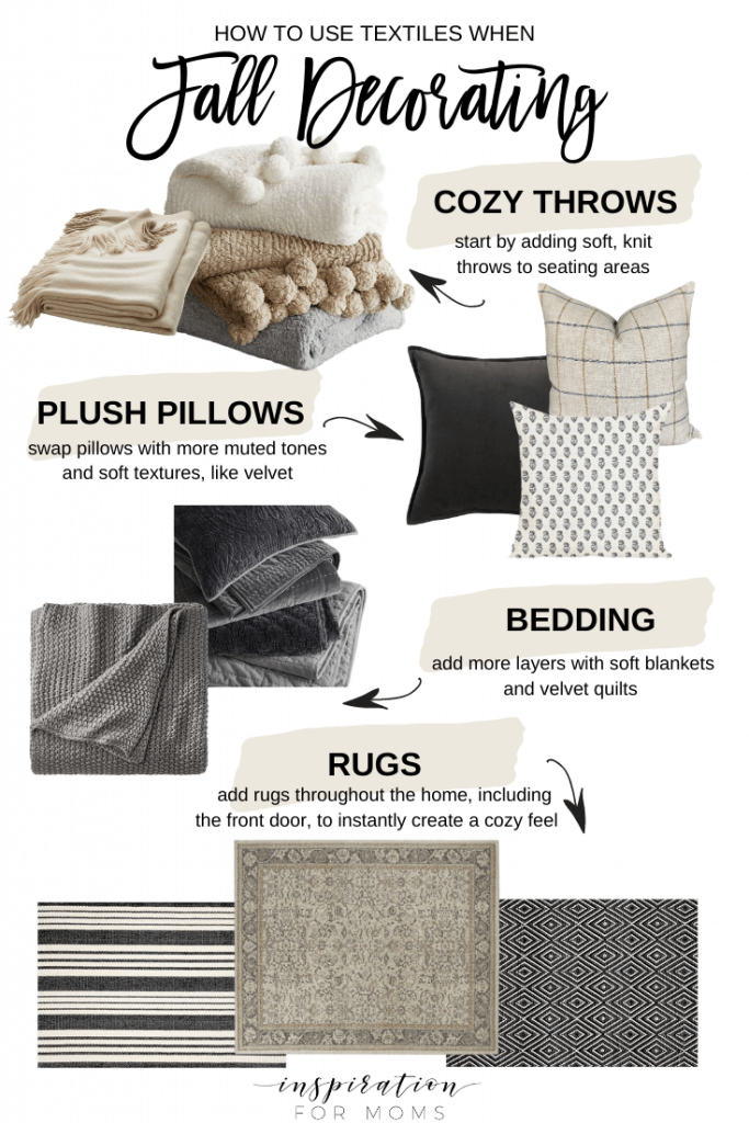 Four simple things is all you need when it comes to fall decorating with cozy textiles.#falldecorating #falldesign #cozytextiles #falltextile