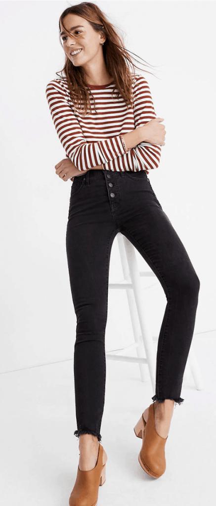 high-rise skinny jeans in black