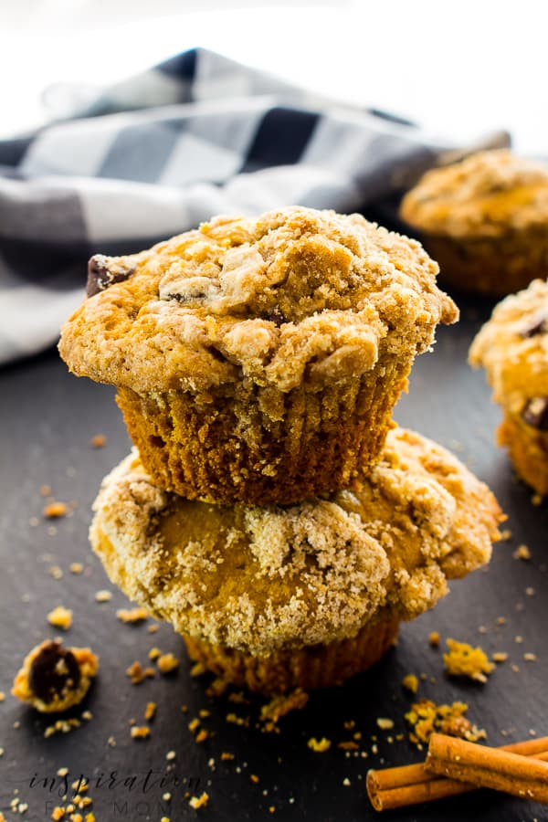 These delicious fall pumpkin coffee cake muffins are perfect for cool, fall days! Topped with a streusel crumb, they're irresistible! #fallpumpkinmuffin #pumpkinmuffin #falldessert