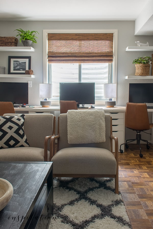 See how a cluttered, unused space turned into a basement home office reveal that I love! #basementremodel #homeoffice #ikeahack #diydesks