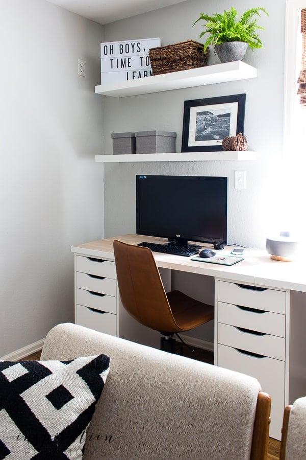 basement home office desk