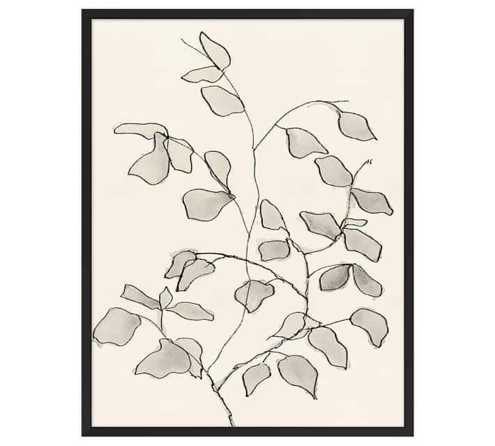 Charcoal Leaves Framed Print