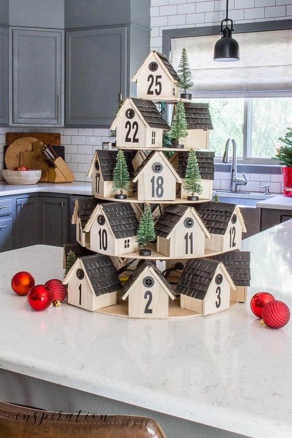 DIY Tiered Wooden Houses Advent Calendar