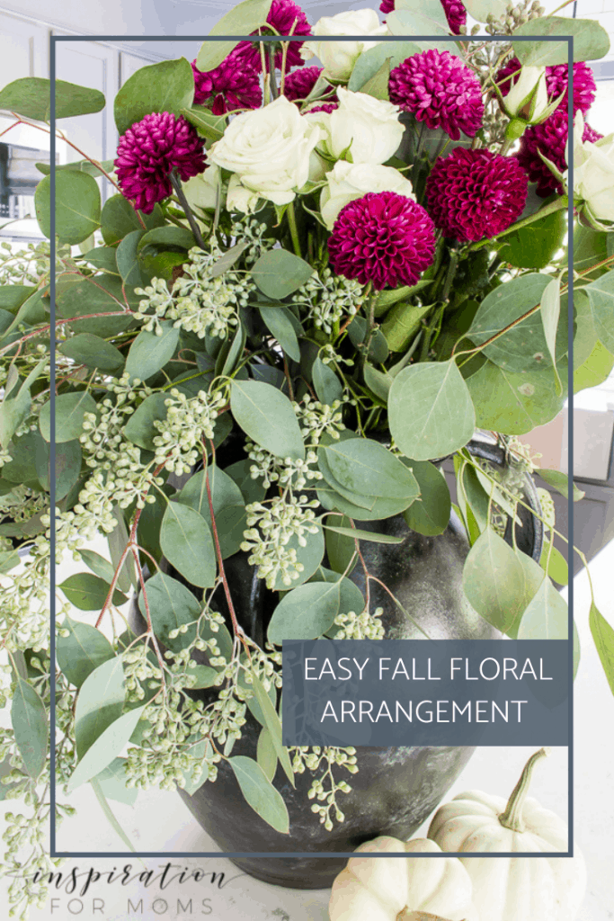 A fall floral arrangement doesn't have to be complicated or expensive. See how I made this one in about 10 minutes!#fallfloral #fallmumfloral