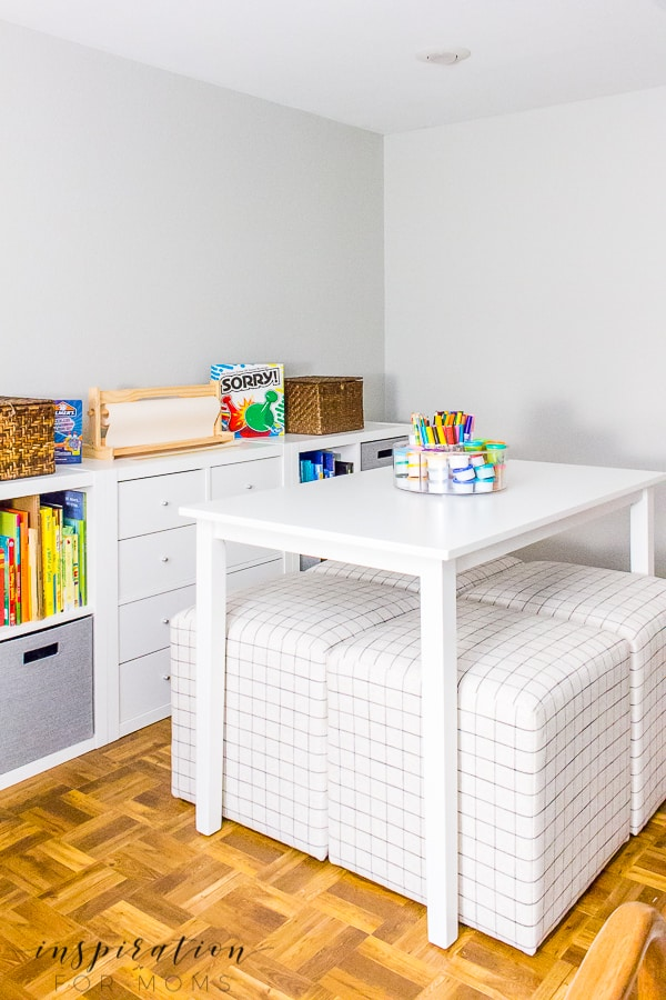 Looking for an item? You can find all the basement remodel sources right here!#basementremodel #basementmakeover #diydesks #homeschooldesks