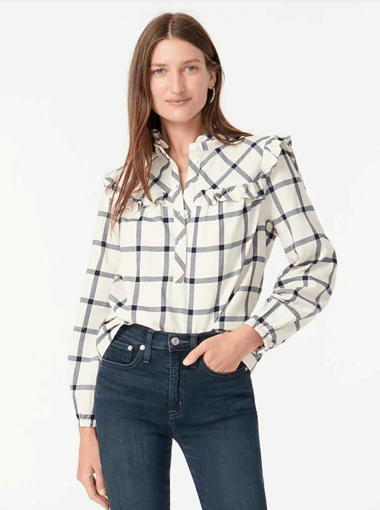 flannel ruffle top