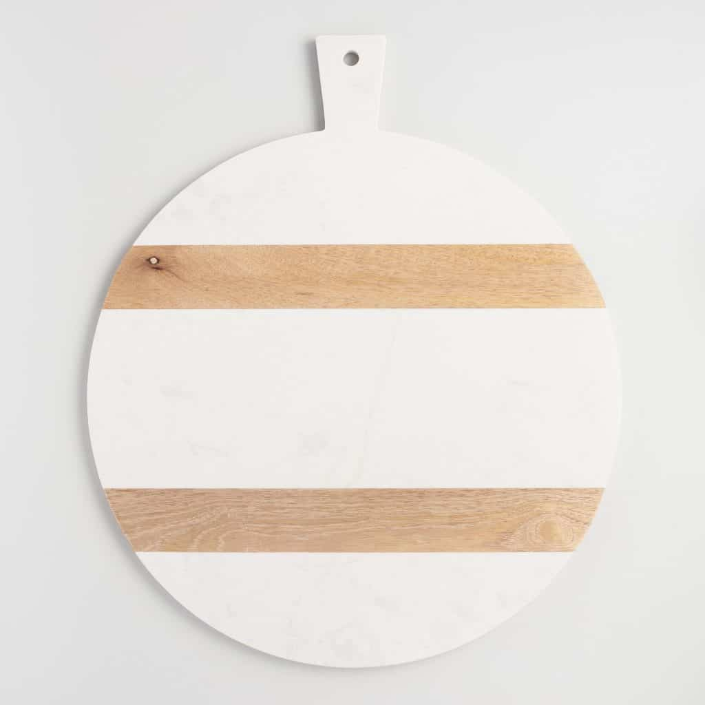 round wood and marble cutting board