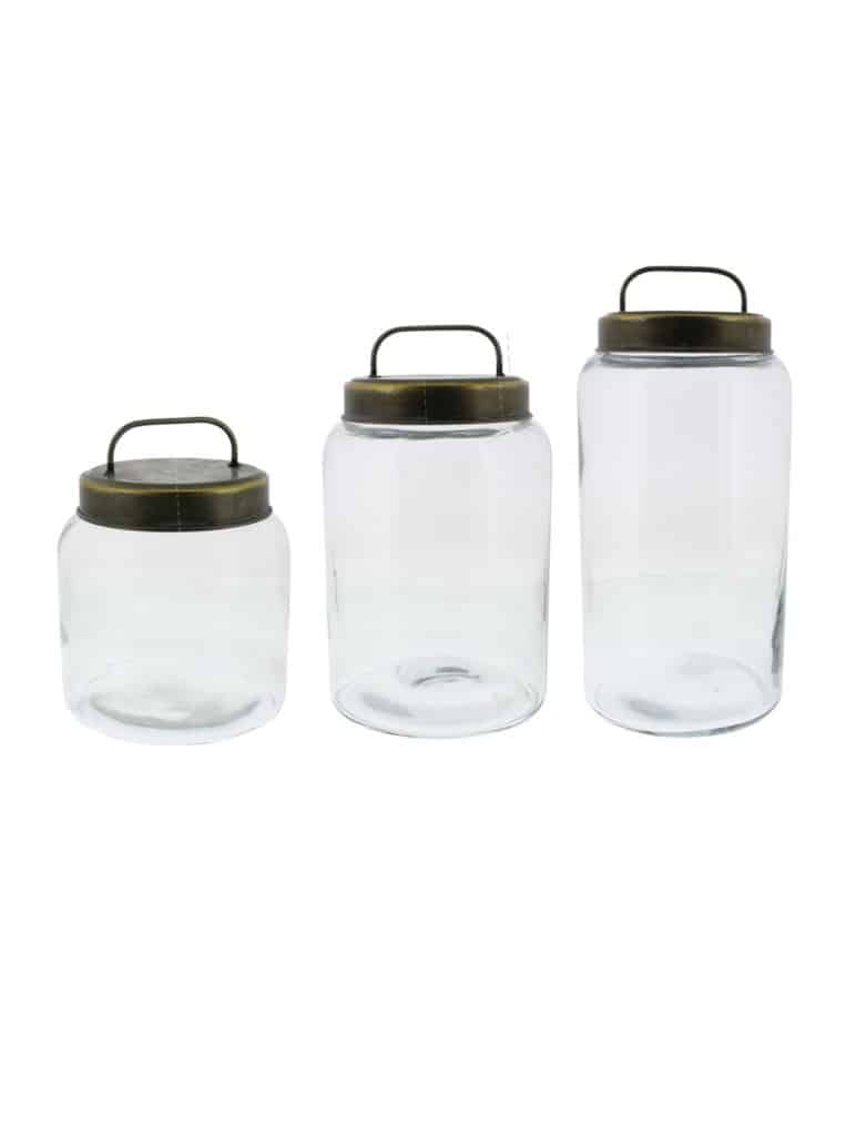 set of three metal lid canisters