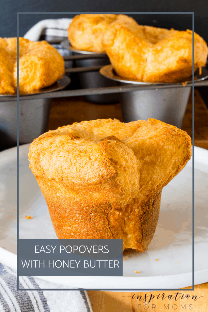 My easy popovers with honey butter are light, flaky and perfect for any meal. And did I mention, they only require five ingredients?! #popovers #breadrecipe