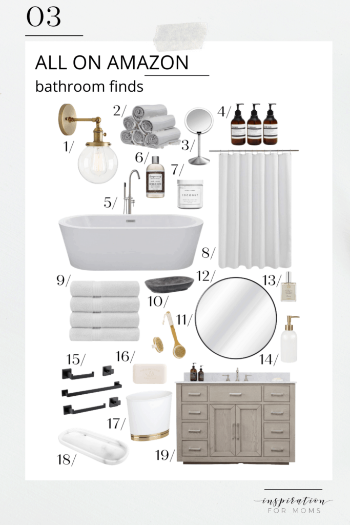 Give your powder room a new-spa-like feel with all my favorite bathroom finds - all on Amazon! #bathroomfinds #allonamazon #founditonamazon