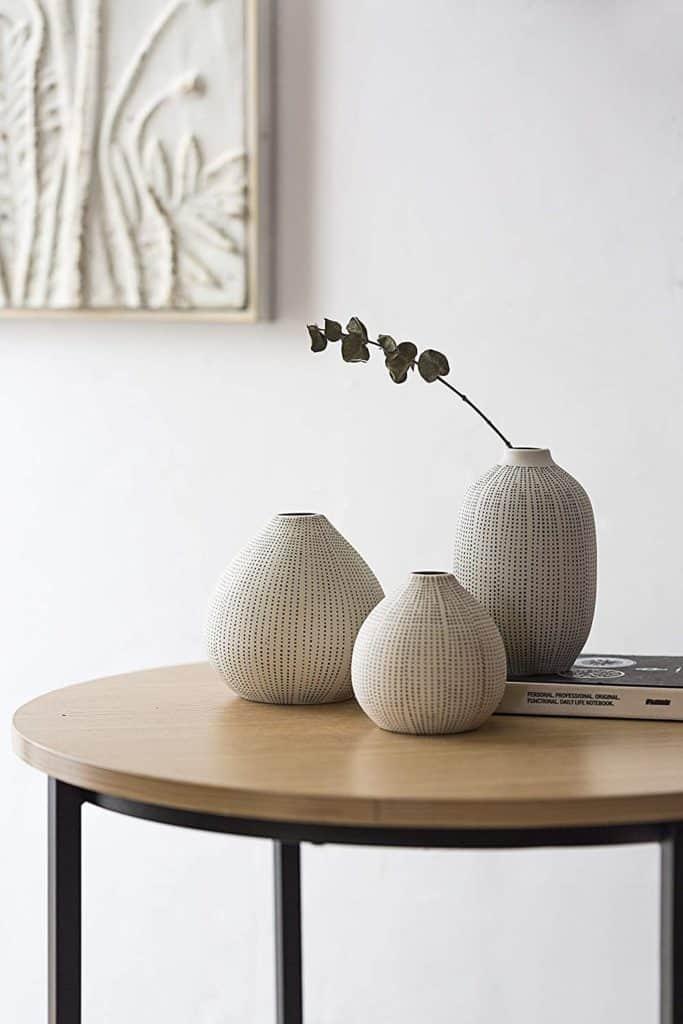 textured black polka dot vases set of 3