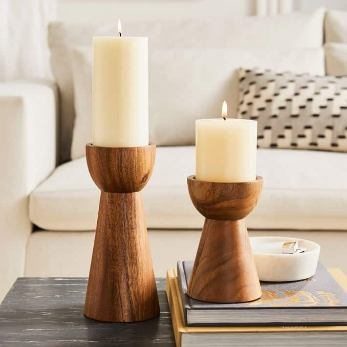 wood pillar candle holders perfect for the coffee table