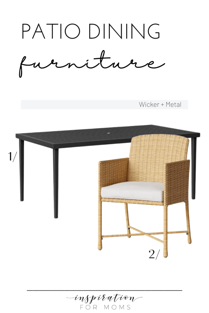 patio dining furniture wicker and metal combo