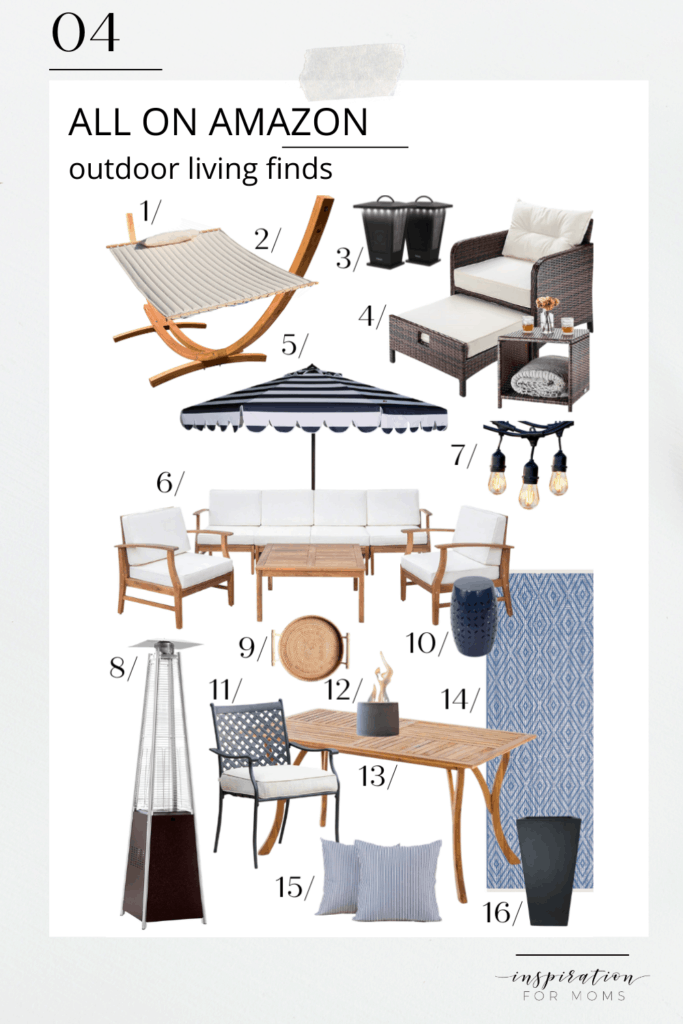 Elevate your backyard deck or patio with my favorite outdoor living finds, all on Amazon! #outdoorliving #backyard #porch #founditonamazon