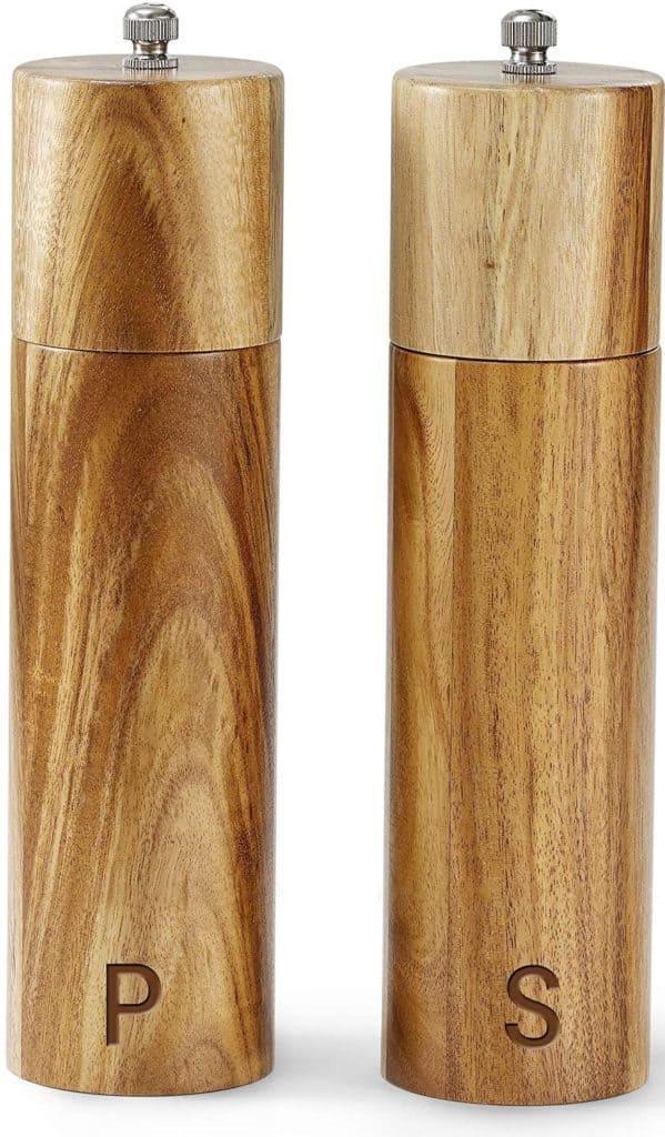 wood pepper mill and salt grinder