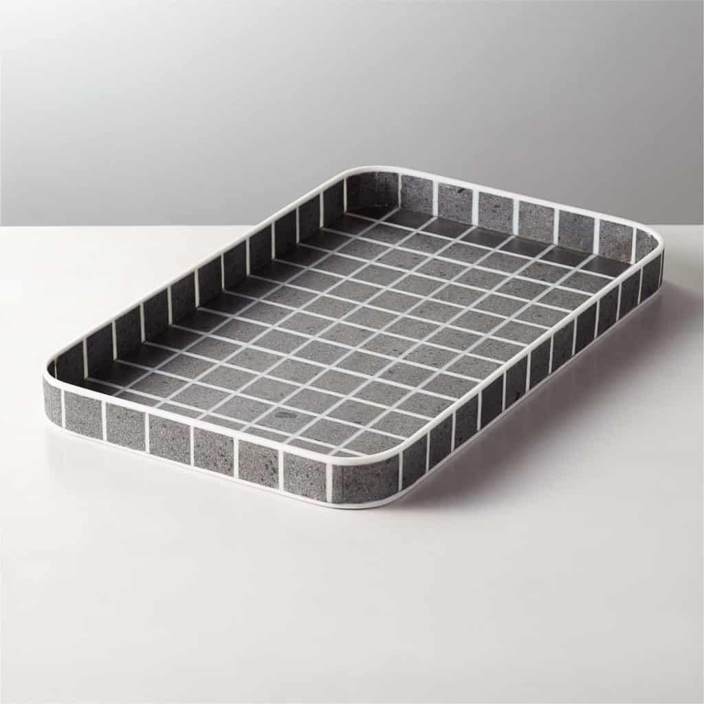 stone tray checkered black and white
